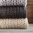 CHUNKY KNIT THROW CHARCOAL