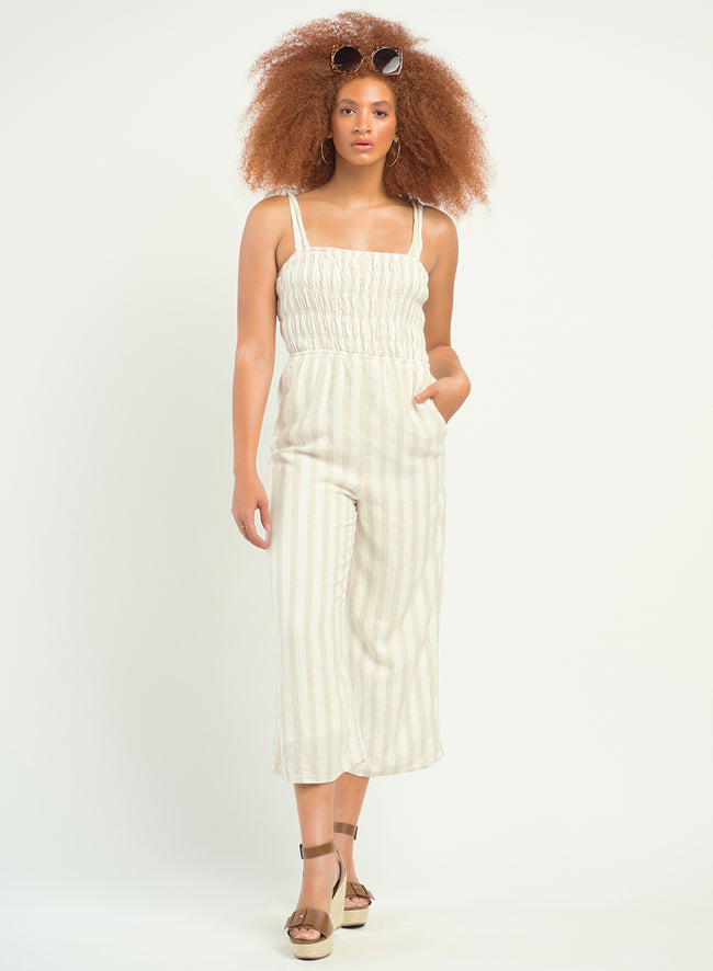1722270 D SL Smoked Detail Striped Jumpsuit
