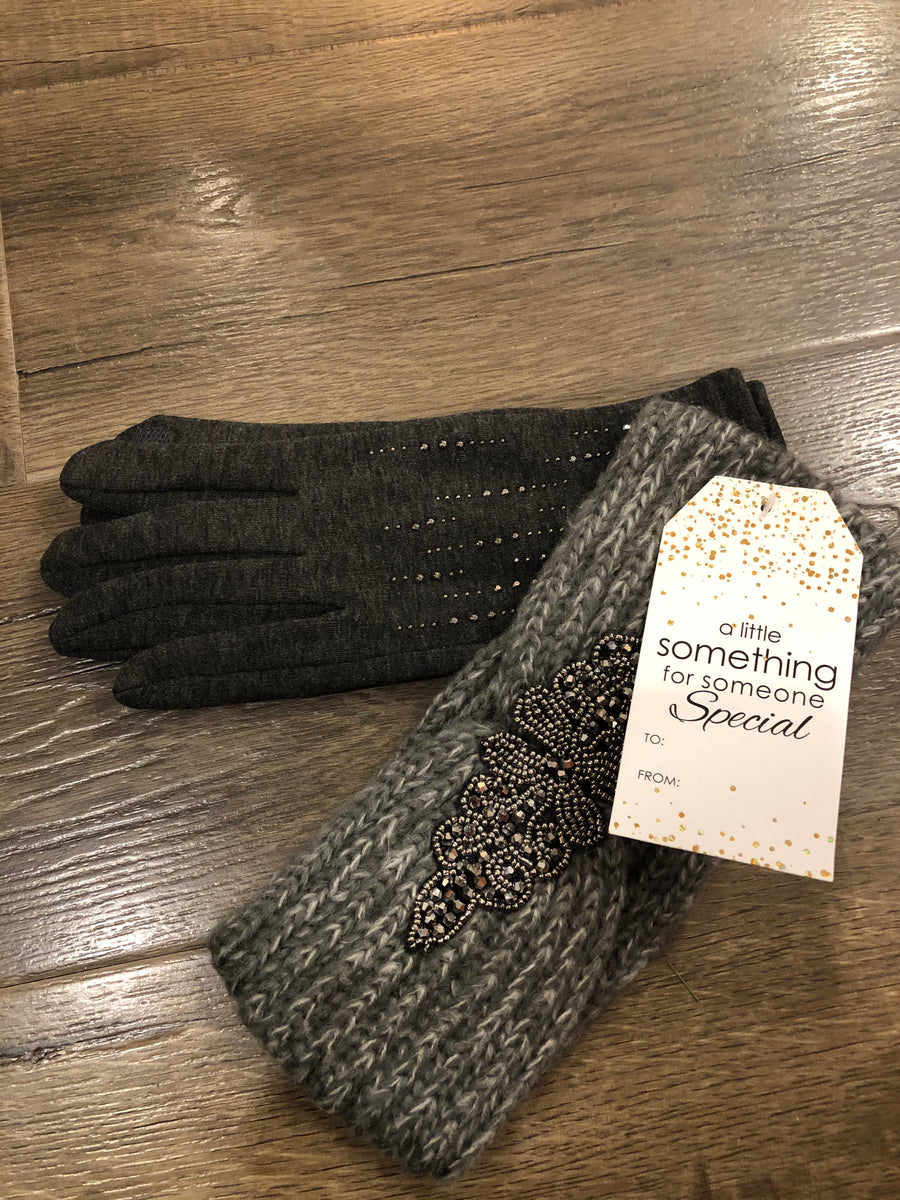 Charcoal Glitter Gloves & Headband Gift Set