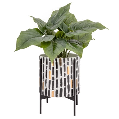 Akina (Small) Vertical Stroke Pattern Ceramic Standing Planter