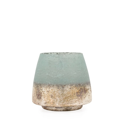 Cambria Seagreen Metallic Etched Glass Vase Candle Holder
