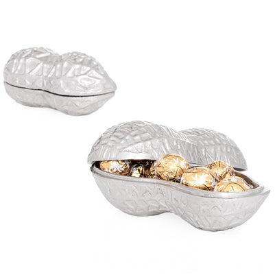 Peanut Shaped (Small) - Nickel Plated Aluminum Trinket Box