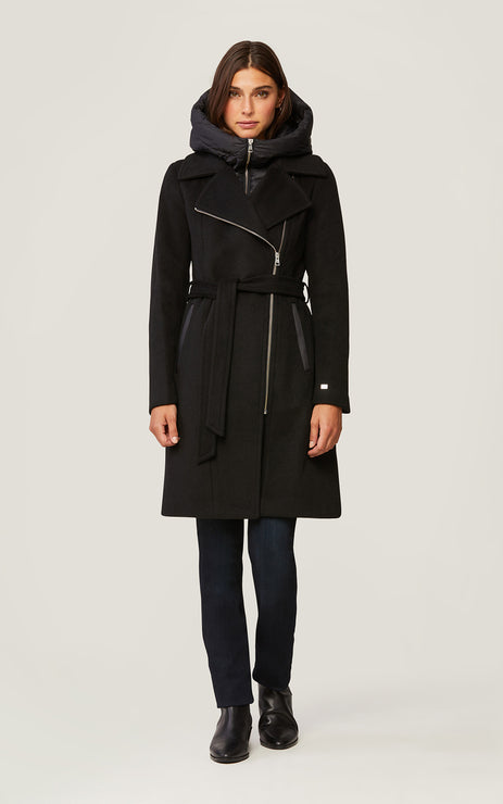 PERLE LADIES MIXED MEDIA COAT - BLACK