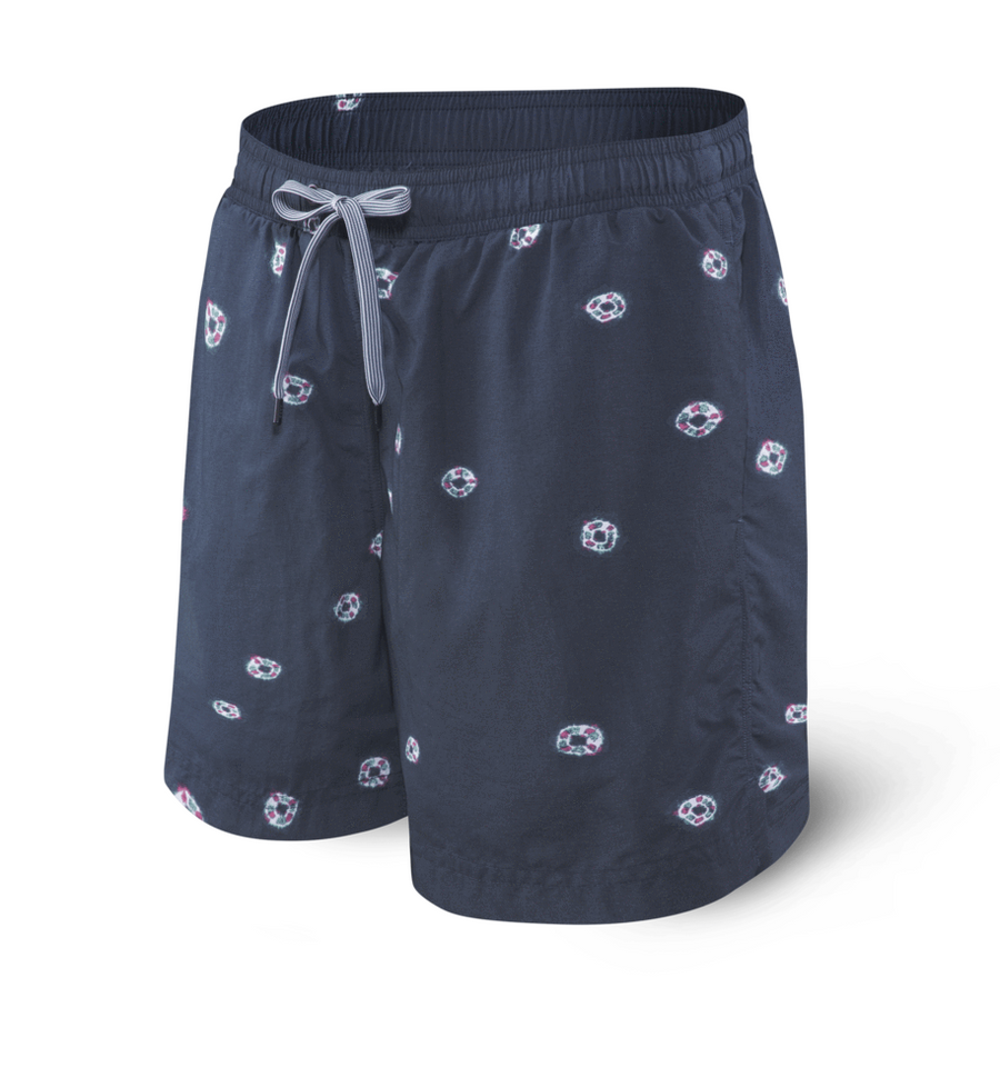 "Saxx Cannonball 2N1 Swim 7"" Navy Tie Dye Dot"
