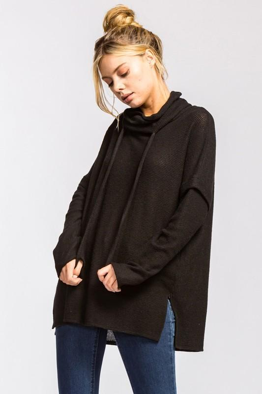 Black Cowl Neck Soft Sweater