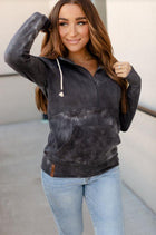 Half Zip Sweatshirt - Grey Tie Dye