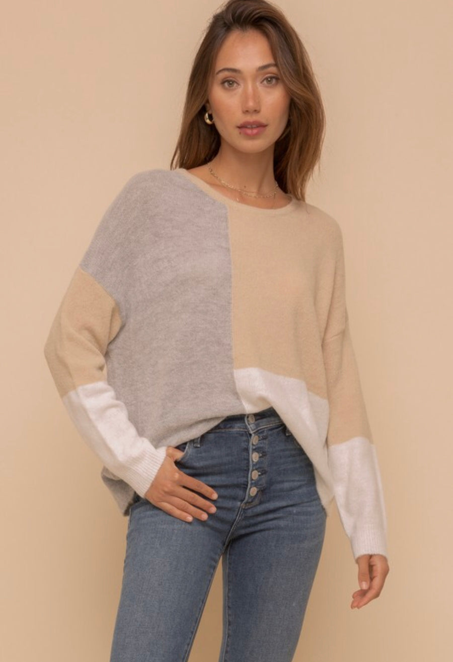 Grey Colour Block Sweater