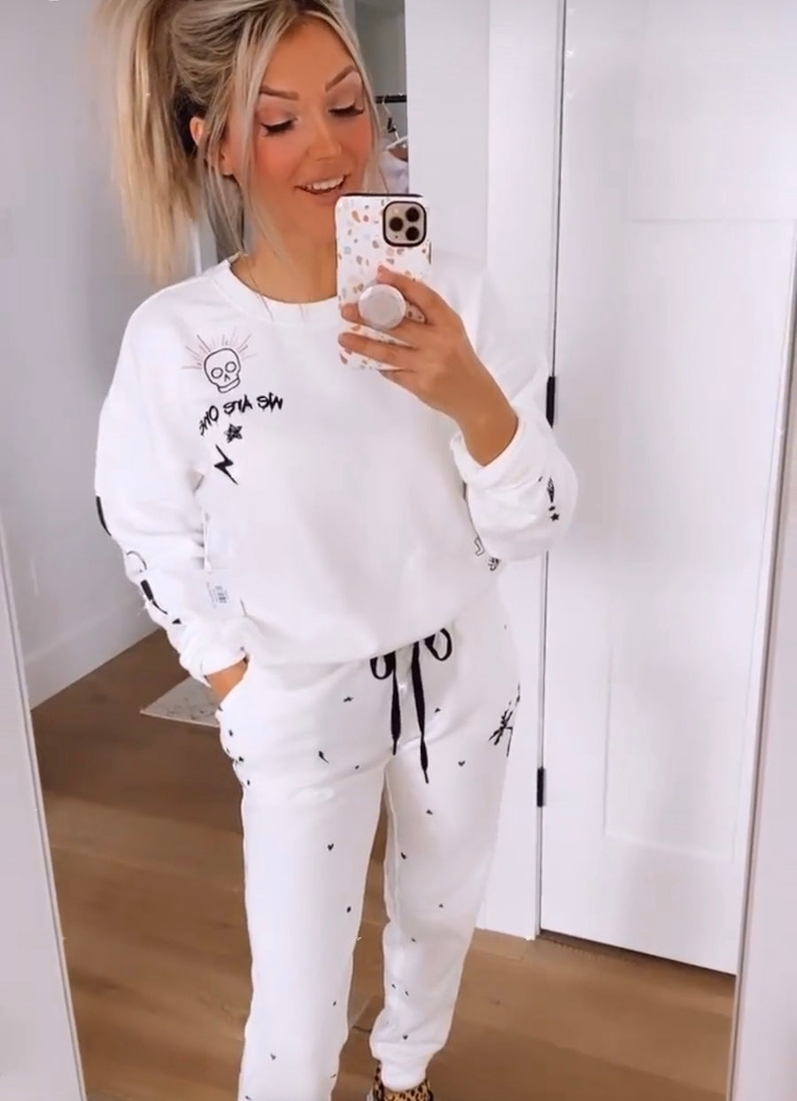 White Daily Doodles Bottom loungewear jogger