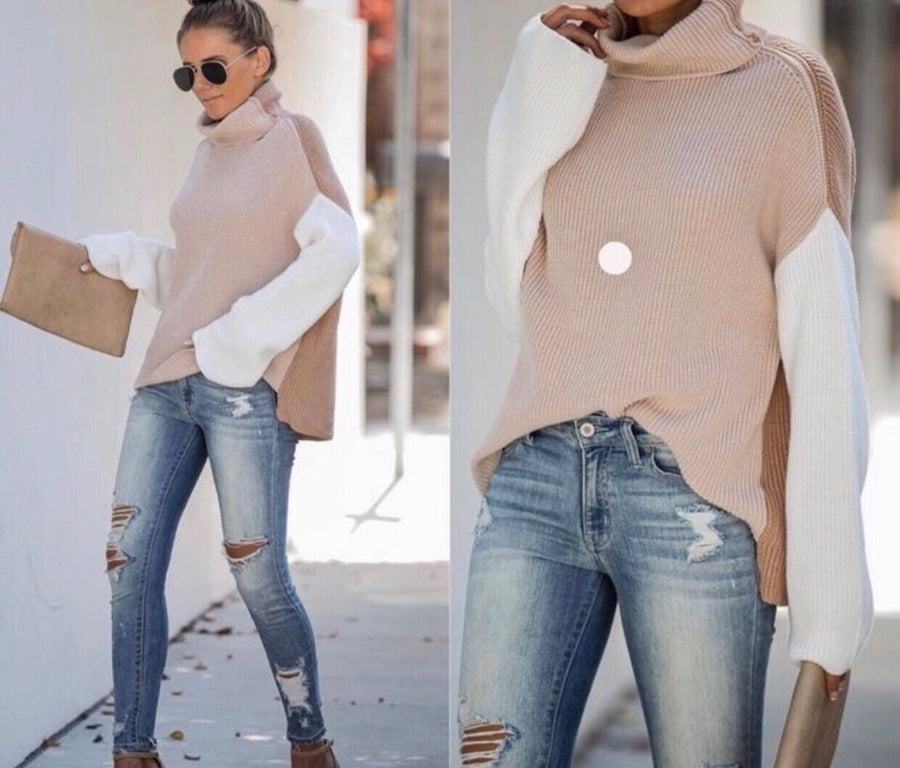 Beige Colorblock Turtleneck