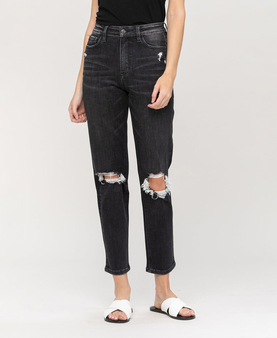 Audrey Black Distressed Mom Jeans