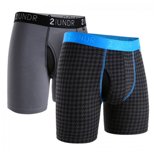 "2UNDR Swing Shift - 6"" Boxer Brief 2-Pack - Grey/Dog Tooth"