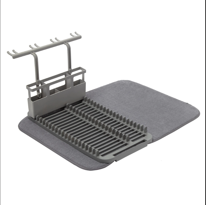 UDRY Dish Rack With Dry Mat Charcoal