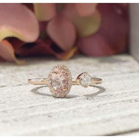 14K Rose Morganite & Moissanite Two-Stone Ring - Ring