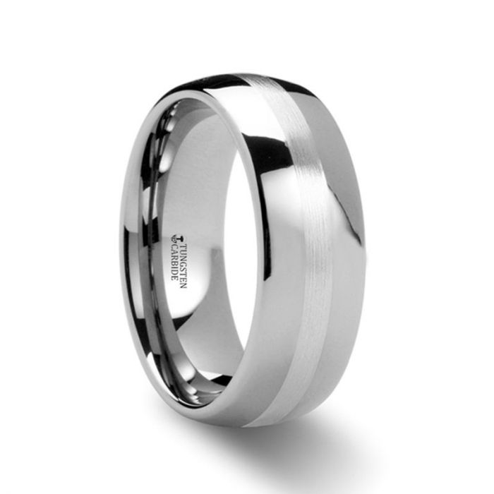 ALTHALOS Palladium Inlaid Domed Tungsten Ring - 8mm