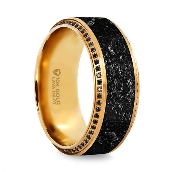 HYPERION Lava Inlaid 10K Yellow Gold Wedding Ring Polished Beveled Edges Set with Round Black Diamonds - 10mm