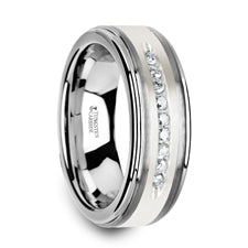HARPER Tungsten Ring with White Diamond