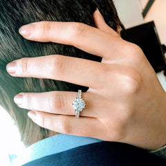 Tiffanie ~ 18KW 8mm Round Moissanite, Diamond Band