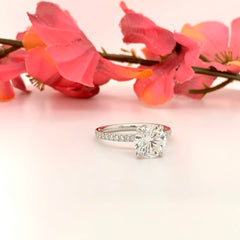 Isabella ~ 18K 8.0mm Round Moissanite, Diamond Band