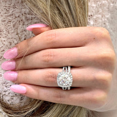 Taylor ~ 18K ~ 9mm Round Moissanite, Diamond Halo and Band
