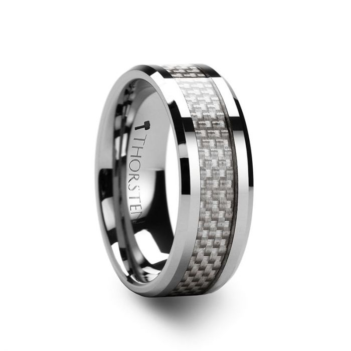 ULTIMUS Tungsten Carbide Ring with Beveled White Carbon Fiber Inlay 4mm - 12mm