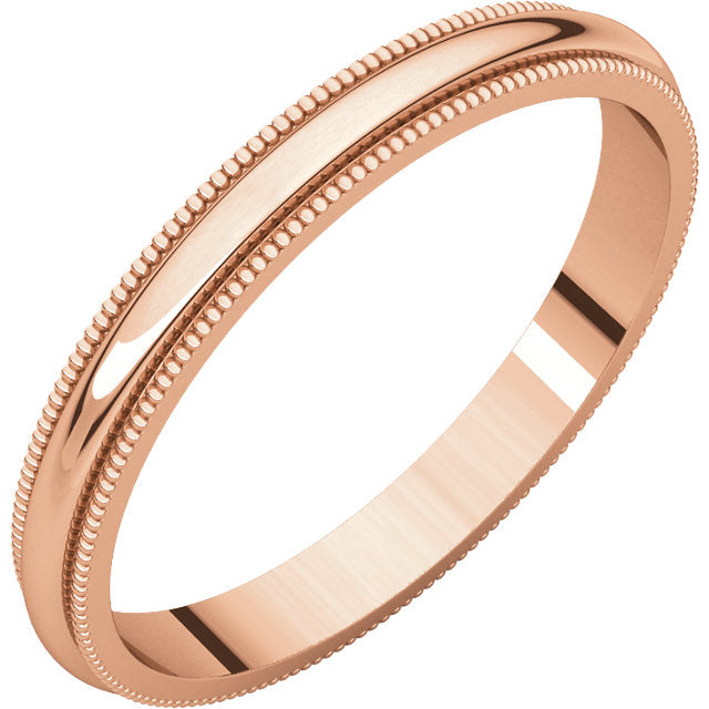 WB0129 ~ ROSE GOLD MILGRAIN WEDDING BAND