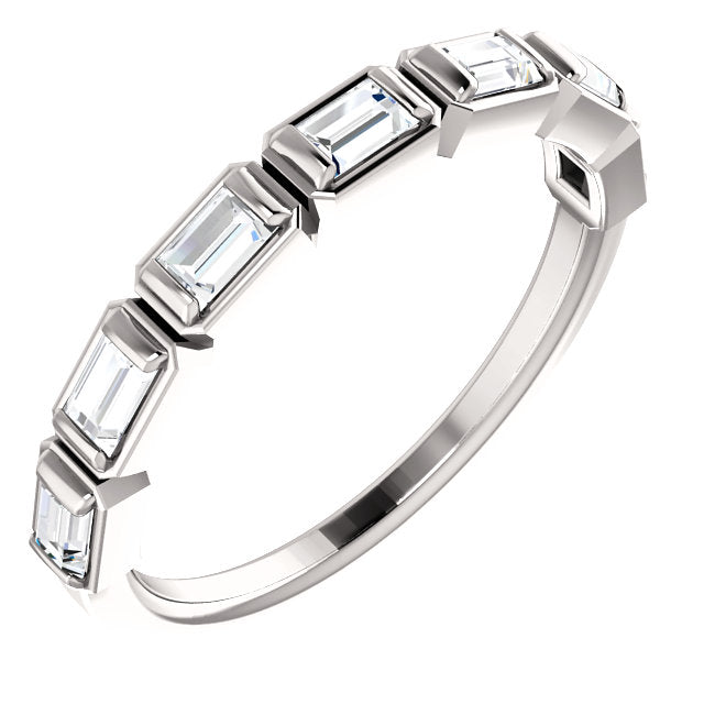 WBM0057 ~ MOISSANITE .25 CT BAGUETTE  WHITE GOLD WEDDING BAND