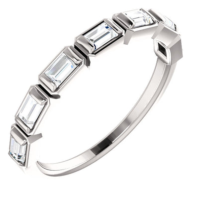WBM0057 ~ MOISSANITE .25 CT BAGUETTE WEDDING BAND