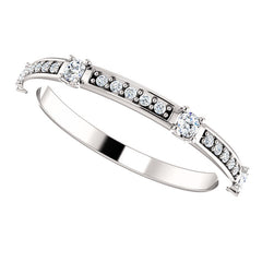 WB050 ~ DIAMOND ~ 0.25 CT ROUND  WHITE GOLD WEDDING BAND RING
