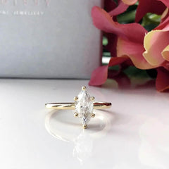 Ahria ~ 14Ky 10X5Mm Marquise Charles & Colvard F1 Moissainte Solitaire - Ring