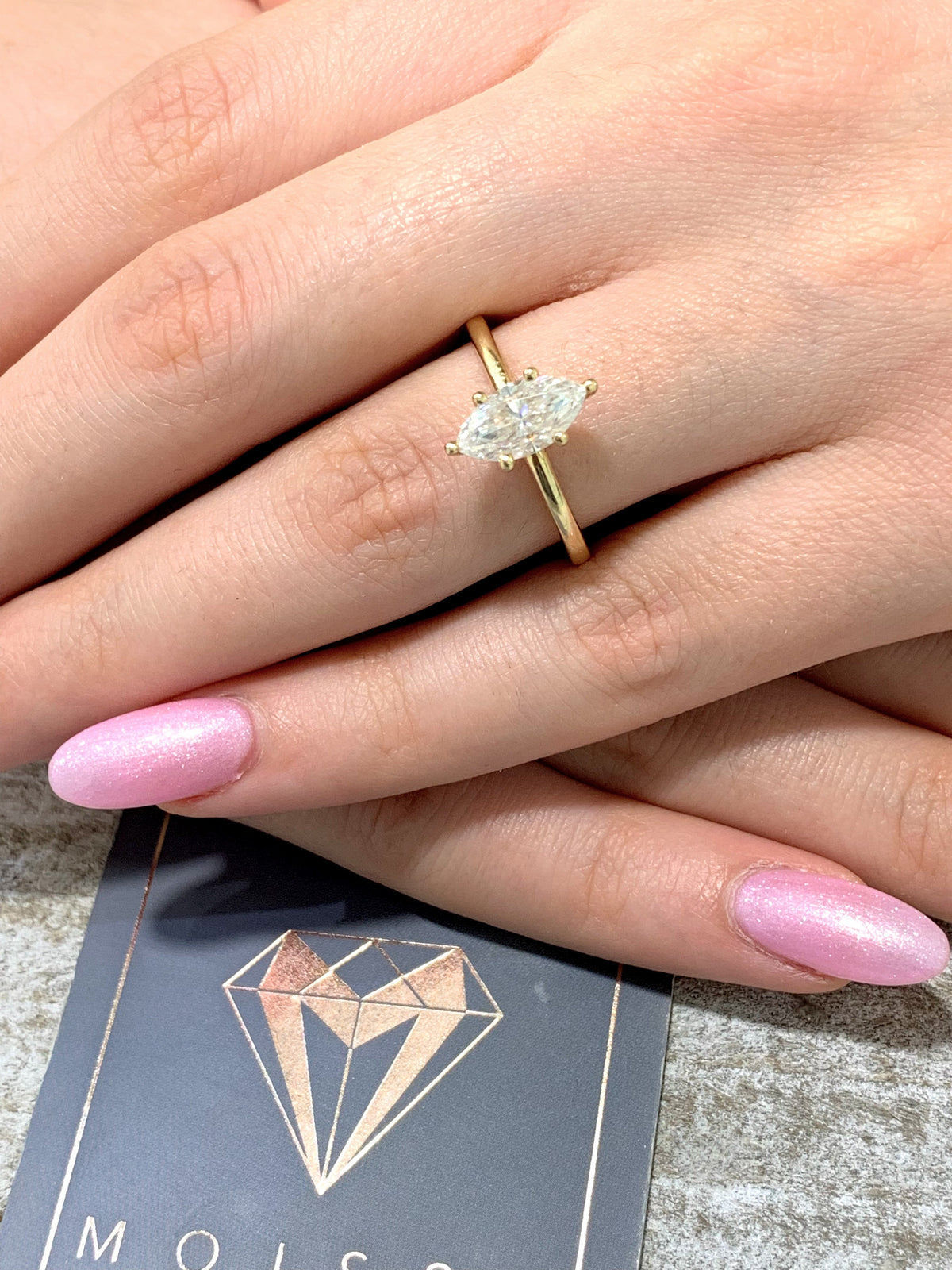 Ahria ~ 14KY 10x5mm Marquise Charles & Colvard F1 Moissanite Solitaire