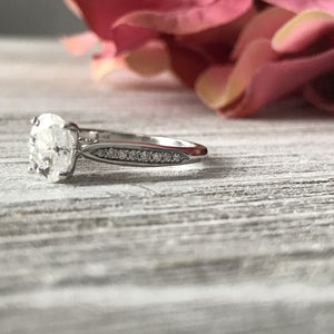 Angelina ~ Oval Charles & Colvard Moissanite Diamond Band - Ring
