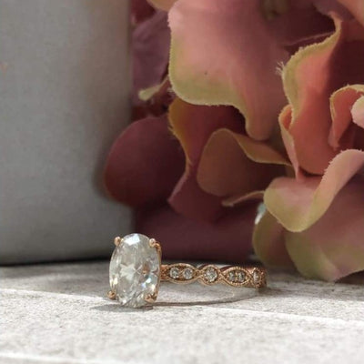 April ~ 18Kr 9X7Mm Oval Moissanite Diamond Vintage Milgrain Band - Ring