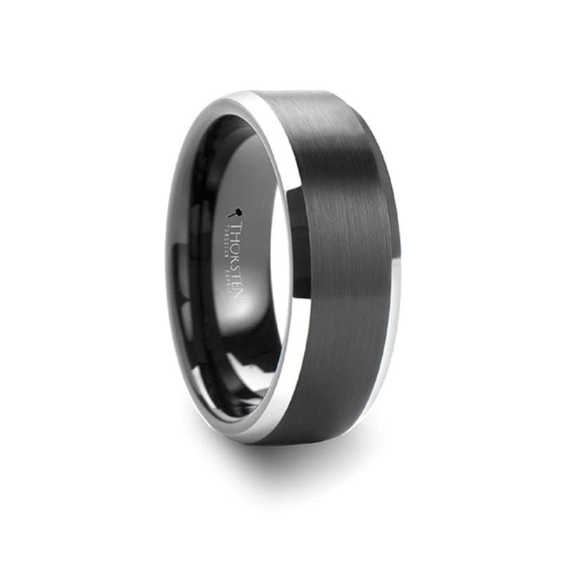 Aston Tungsten Carbide Ring With Polished Beveled Edges - Mens Rings