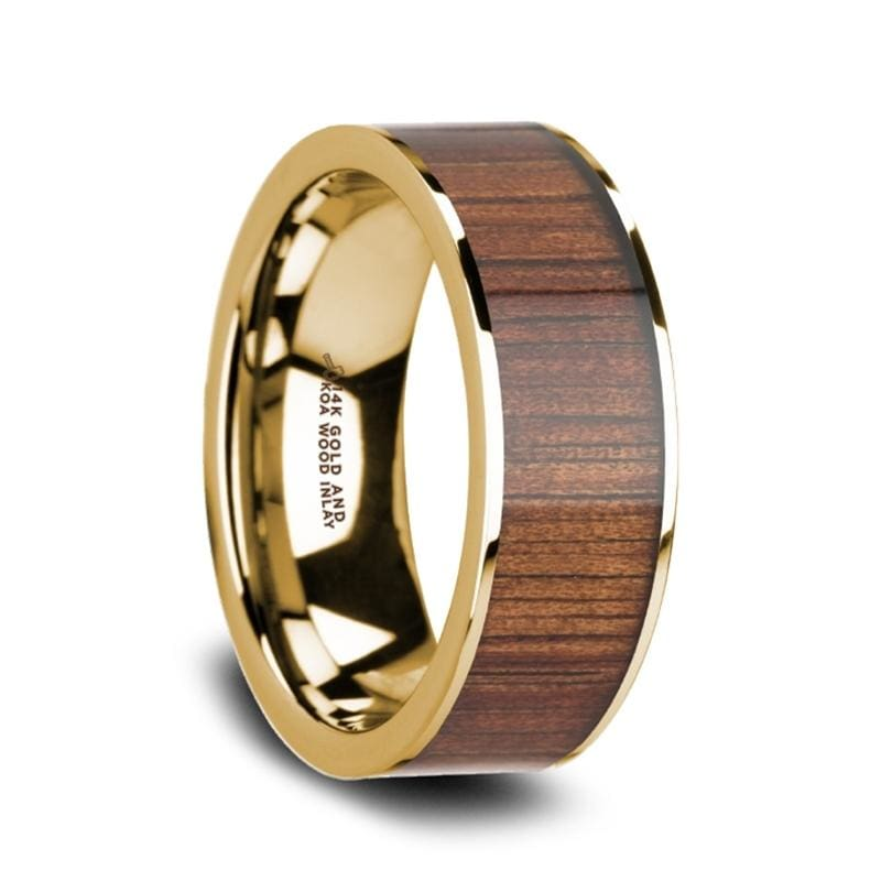 AURELIAN 14K Pipe Cut Yellow Gold Ring Wedding Band with Rare Koa Wood Inlay and Polished Edges