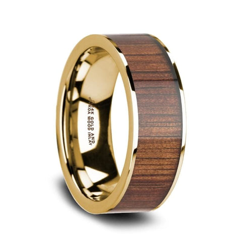 Aurelian 14K Pipe Cut Yellow Gold Ring Wedding Band With Rare Koa Wood Inlay And Polished Edges - Mens Rings