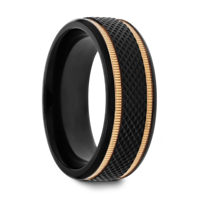 BAROQUE Black Titanium Diamond Pattern Brushed Finish Men's Wedding Ring with Gold Milgrain Grooves