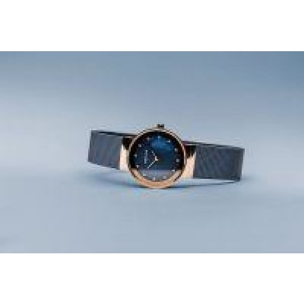 Bering Class Ladies Watch Blue Polished Rose Gold - 10126-367 - Watch