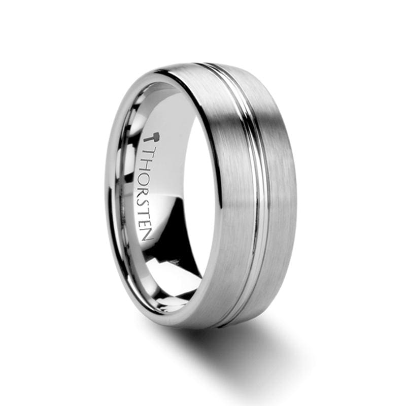 Boss Rounded Brushed Center Groove Tungsten Carbide Ring - Mens Rings
