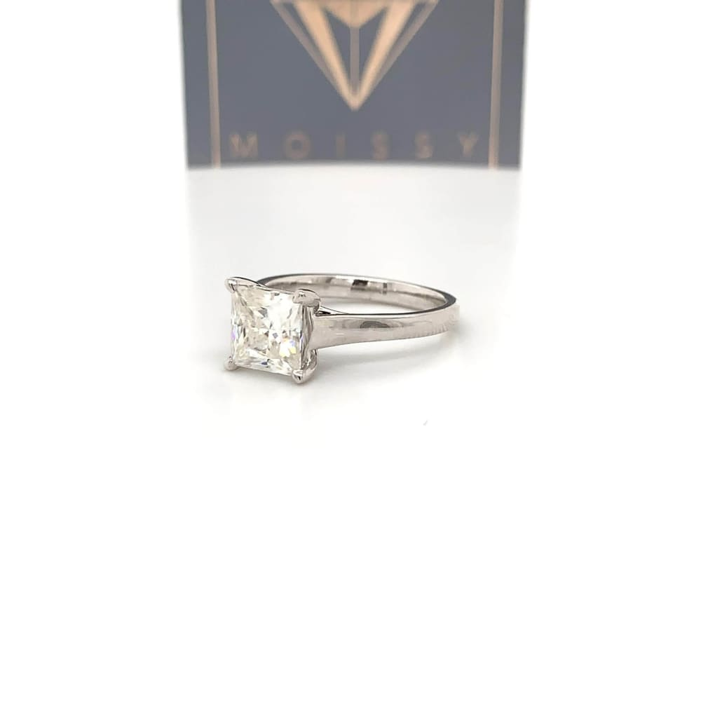Brandy ~ 18Kw 7Mm Princess Moissanite Solitaire - Ring
