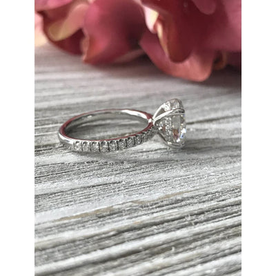 Briauna ~ 18Kw 9X7Mm Moissanite Diamond Hidden Halo And Band - Ring