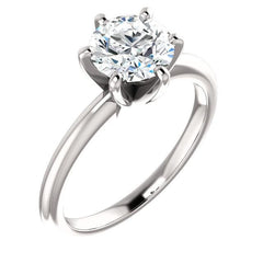 Brooklyn ~ 18Kw 7.0Mm Charles & Colvard F1 Round Moissanite Solitaire - Ring