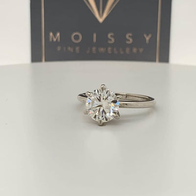 Brooklyn ~ Pt950 8Mm Round Moissanite Solitaire - Ring