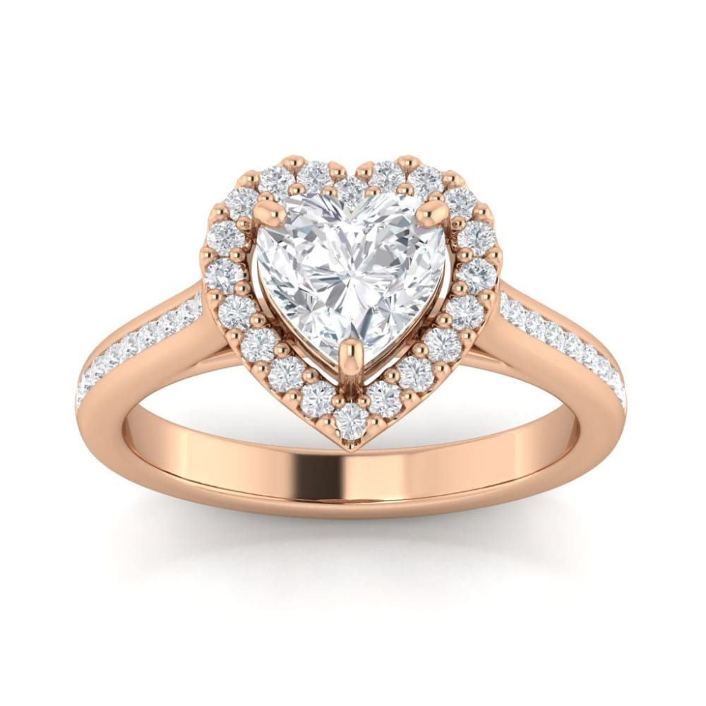 Celine ~ 14K 7Mm Heart Moissanite Moissanite Accent Stones And Band - Ring