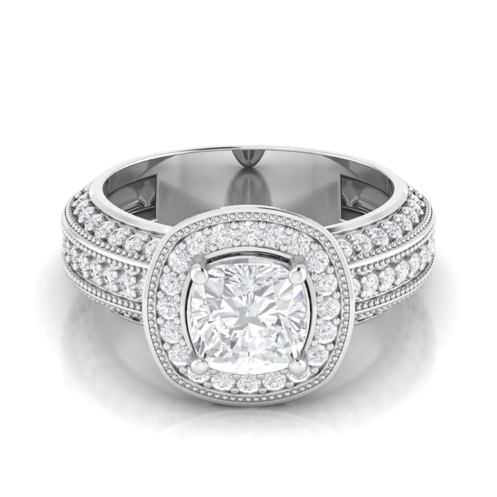 Christine ~ 14Kw 7Mm Cushion Moissanite Halo And Band - Ring