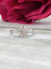 Davina ~ 14K 9x7mm Oval 3 Stone Moissanite Ring