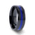 DECLAN Men's Beveled Black Ceramic Brushed Finish Wedding Band with Polished Blue Stripe - 8mm