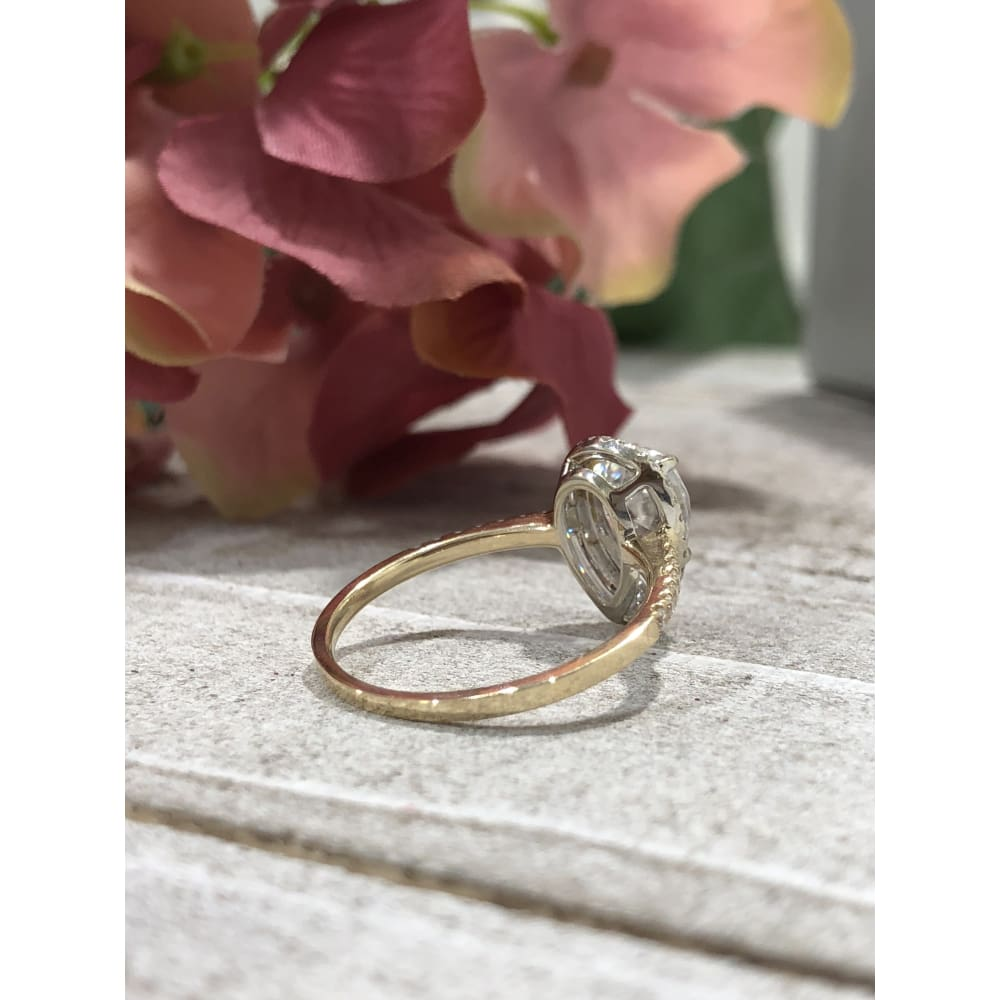 Deloris ~ 10X7Mm Pear Mossanite Moissanite Halo And Band - Ring