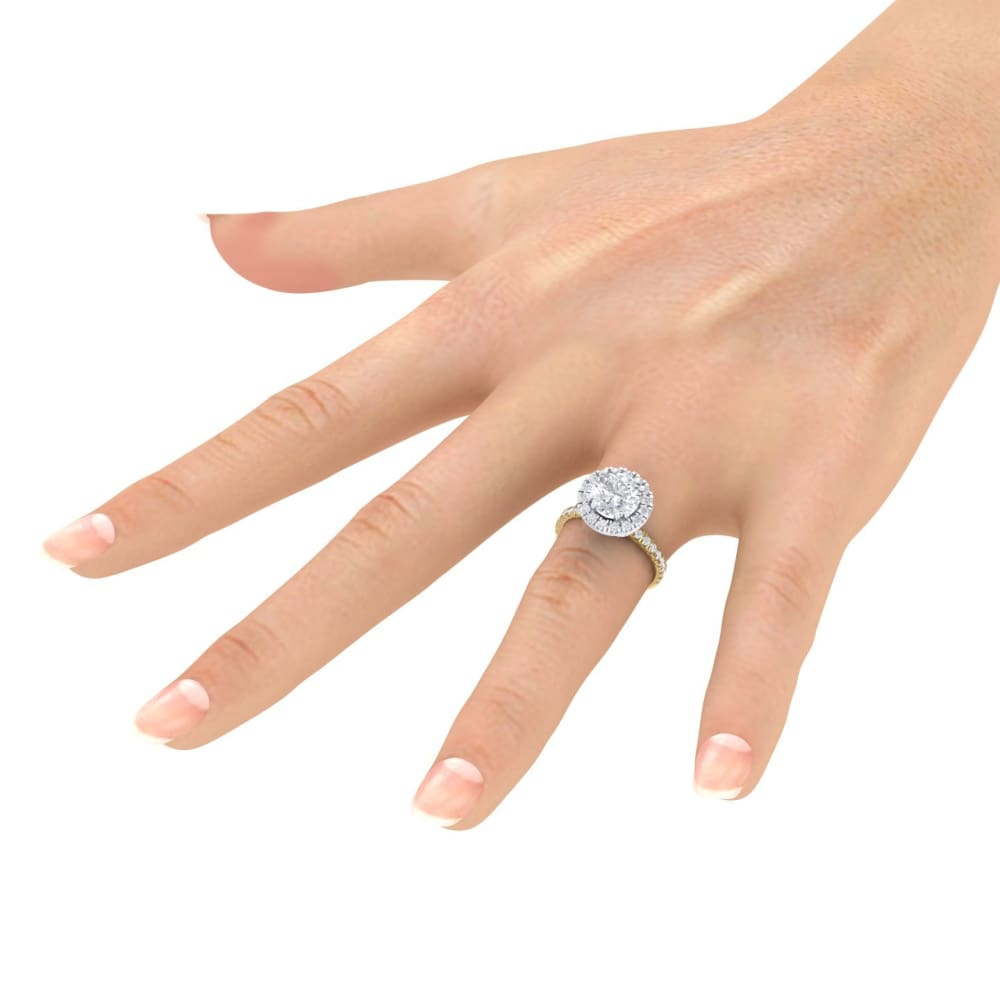Diana ~ 18Kyw 7.5Mm Round Moissanite Diamond Halo And Band - Ring