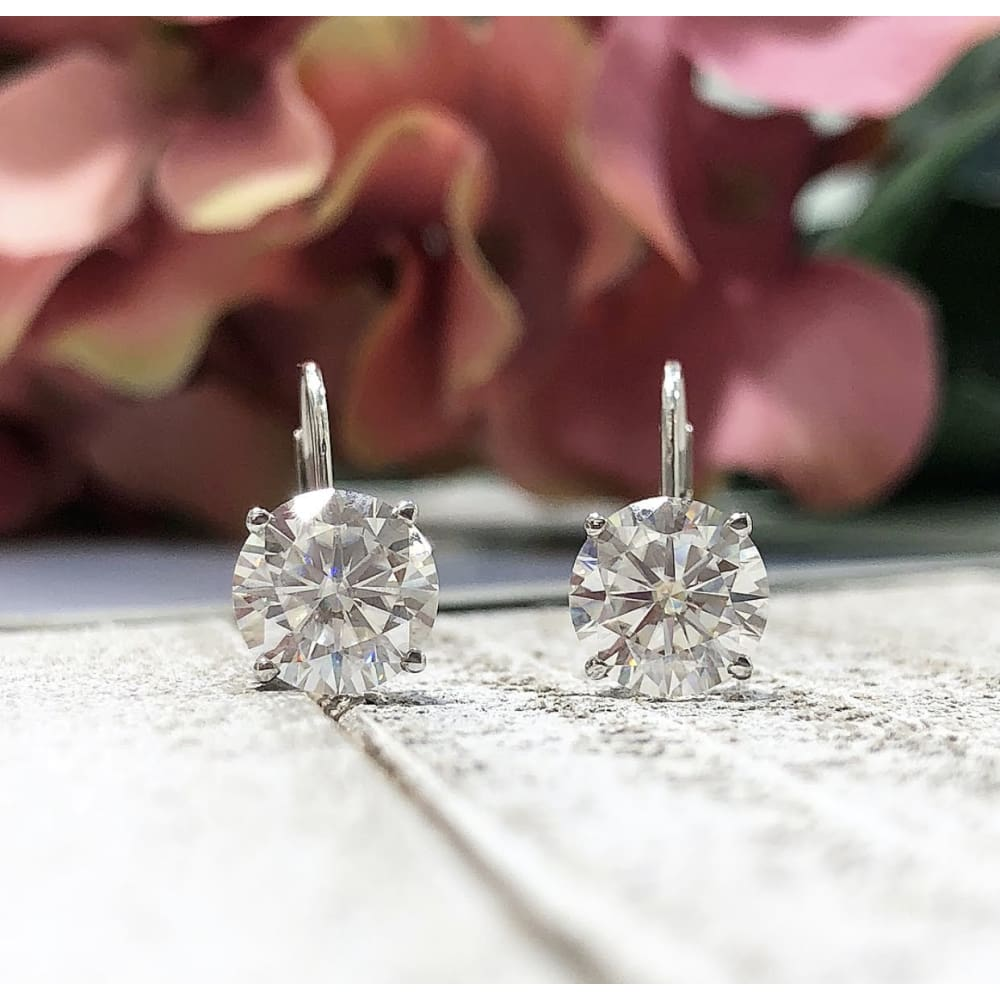 Earrings ~ 3Ctw Moissanite Dangle Earrings - Earrings