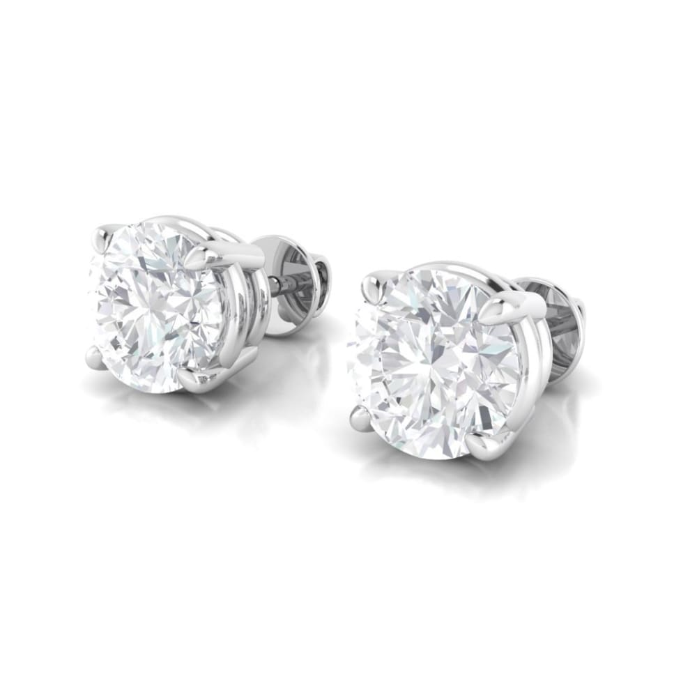 Earrings ~ 4Ct Round Moissanite White Gold Earrings - Earrings